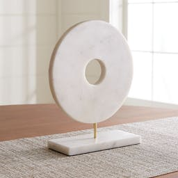 White Marble Circle on Stand