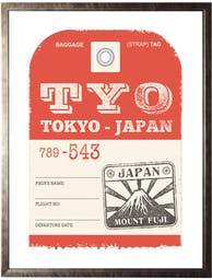 Tokyo Travel Ticket in Pewter Shadowbox -Small Red Wall Art