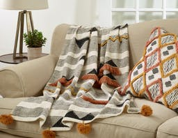 Block Print Embroidered Throw Multi