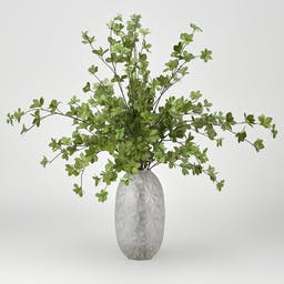 Green Leafy Branches in Glass Vase Green