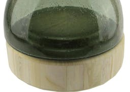"""Dustin Candle Holder with Wooden Base gray 9.75"""""""