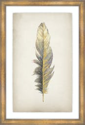 """Gilded Feathers II, 25""""X37"""", Glass Framed Gilded Gold  Wall Art"""