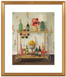 """Barmaids by Janet Hill, 24"""" x 28"""", Ornate - Gold Leaf Wood Frame, With Matte"""