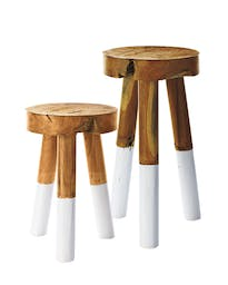 Dip-Dyed Stools, Small, White