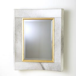 Curved Short Mirror- Hair-on-Hide White