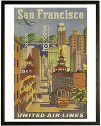 San Francisco travel poster in copper and black frame Brown Wall Art