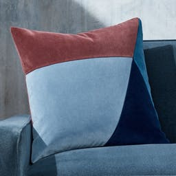 """Pieced Velvet Cool Pillow with Feather-Down Insert 20"""""""