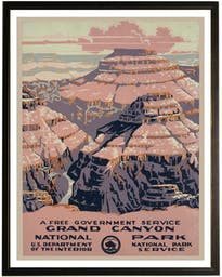 Grand Canyon travel poster in copper and black frame Brown Wall Art