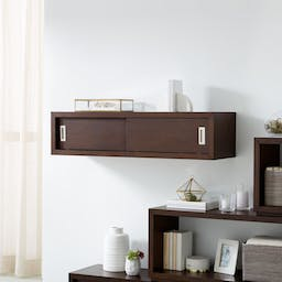 """Aspect Coffee 47.5"""" Floating Cube Shelf with Doors"""