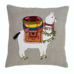 Embroidered Llama Pillow Grey