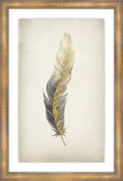 """Gilded Feathers I, 25""""X37"""", Glass Framed Gilded Gold Wall Art"""