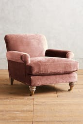 Willoughby Chair, One Size, Slub Velvet in Rosewood, Wood in Hickory, Metal Finish in Antique Brass