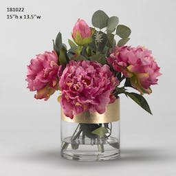 Pink Peonies In Short Glass Cyclinder With Gold Stripe Pink