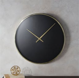 Solitaire Black and Gold Wall Clock