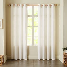 """Opaque Linen Curtain With Grommets, 84"""", White"""