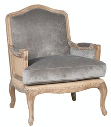 Maisy Club Chair  Gray upholstery, natural distressed frame