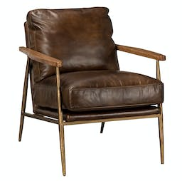 Jace Leather Club Chair   Antique Brown leather upholstery, Rubberwood arms, brass iron base