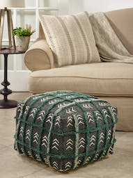 Embroidered Mudcloth Pouf Black
