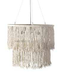 Sophie Drum Chandelier with Leather Tassles Bleached