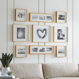 Brushed Brass Picture Frame Gallery, Set of 9
