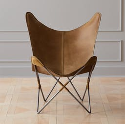 Belgrano Brown Leather Butterfly Chair, Butterfly Brown Leather