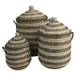 Linton Recycled Baskets (Set of 3) Natural