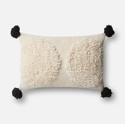 """Double Circle Shag Pillow with Tassels 13""""x 21"""" Cream Ivory / Black"""