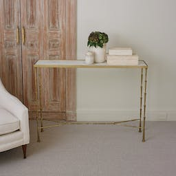 Spike Console-Antique Brass w/ Marble White
