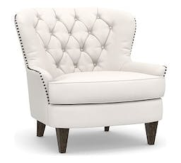 Cardiff Upholstered Tufted Armchair, Polyester Wrapped Cushions, Performance Everydaylinen™ by Crypton® Home Ivory