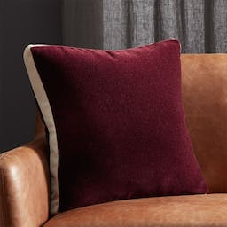 """18"""" Mohair Plum Pillow with Feather-Down Insert"""