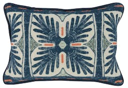 Weslee Navy Blue/Coral Rectangular Pillow Multicolor