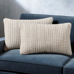 """Byron Rope Weave Pillow 24""""x16"""", Set of 2"""