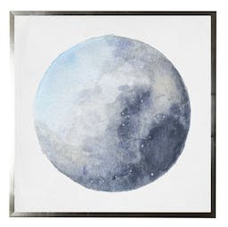 Watercolor moon phases in silver shadowbox Blue Kids' Wall Art