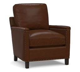 Tyler Square Arm Leather Armchair with Oxidized Satin Brass Nailheads, Down Blend Wrapped Cushions, Leather Legacy Chocolate