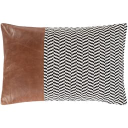 Leather  Pillow Black, Camel