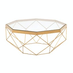 Origami Coffee Table Clear, Brushed Gold