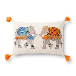 Embroidered Elephant Pillow Natural / Multi
