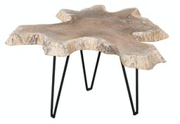Inaya Small Accent Table   White/Natural Finish/Black Legs