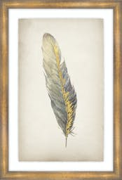 """Gilded Feathers III, 25""""X37"""", Glass Framed Gilded Gold Wall Art"""
