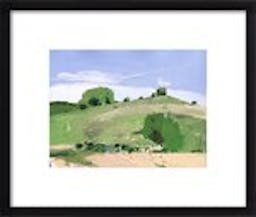 """Fox Hill by Harry Stooshinoff, 14"""" X 11"""", Contemporary - Thin Black Wood Frame, With Matte"""