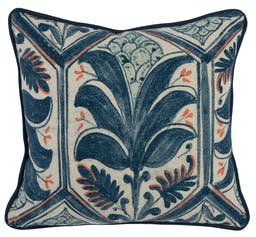 Yaira Navy Blue/Coral Square Pillow Multicolor