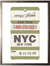 NYC Ticket in Pewter Shadowbox - Small Green Wall Art