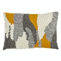 Boucle Yarn Appliqué Pillow - Down Filled