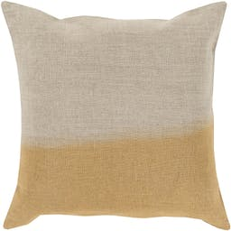 """Alessa Dip Dyed Yellow Pillow Shell with Polyester Insert, 18"""" x 18"""" Khaki"""
