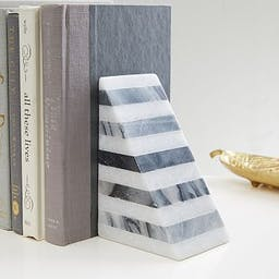 Geometry Bookends, Striped Angle, Black/White