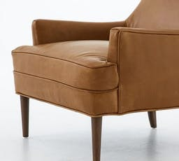 Reyes Leather Armchair, Polyester Wrapped Cushions, Legacy Chocolate