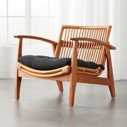 Noelie Rattan Lounge Chair with Black Cushion