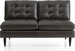 Petrie Leather Midcentury Armless Loveseat, Laval Carbon