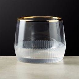 Arabesque Gold Rimmed Double Old-Fashioned Glass