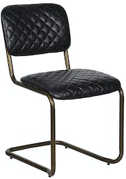 Tufted Dining Chair Metal and Leather